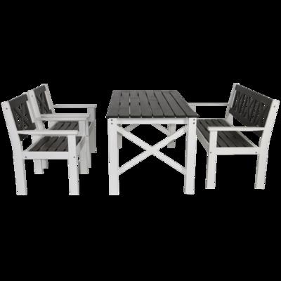 Set Tapa,grenen, 2 stoelen, tafel, bank, grijs/wit