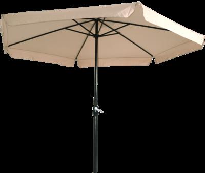 Ronde parasol Gemini, met antraciet frame en ecru doek met volan. Heeft een doorsnede van 3m. en 6 metalen baleinen. Met handige molen.