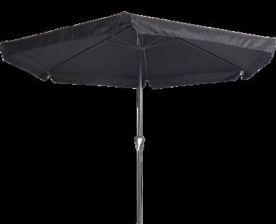 Ronde parasol Gemini, met antraciet frame en zwart doek met volan. Heeft een doorsnede van 3m. en 6 metalen baleinen. Met handige molen.