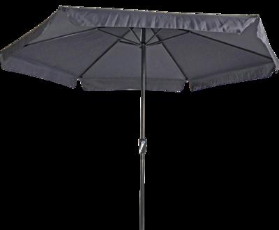Ronde parasol Gemini, met antraciet frame en grijs doek met volan. Heeft een doorsnede van 3m. en 6 metalen baleinen. Met handige molen.