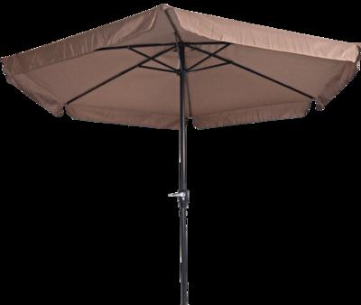 Ronde parasol Gemini, met antraciet frame en taupe doek met volan. Heeft een doorsnede van 3m. en 6 metalen baleinen. Met handige molen.