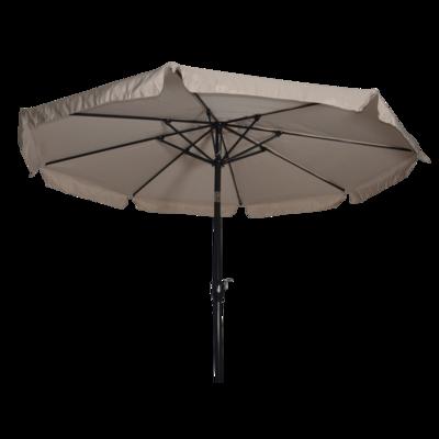 Ronde parasol Libra, met antraciet frame en knik. Ecru doek met volan, doorsnede van 3m. en 8 metalen baleinen. Met handige molen en veersysteem.
