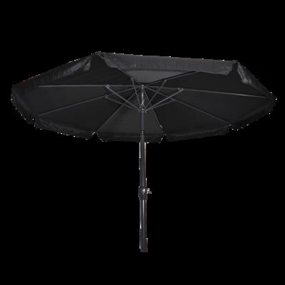 Ronde parasol Libra, met antraciet frame en knik. Zwart doek met volan, doorsnede van 3m. en 8 metalen baleinen. Met handige molen en veersysteem.