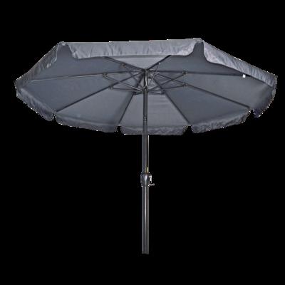 Ronde parasol Libra, met antraciet frame en knik. Grijs doek met volan, doorsnede van 3m. en 8 metalen baleinen. Met handige molen en veersysteem.