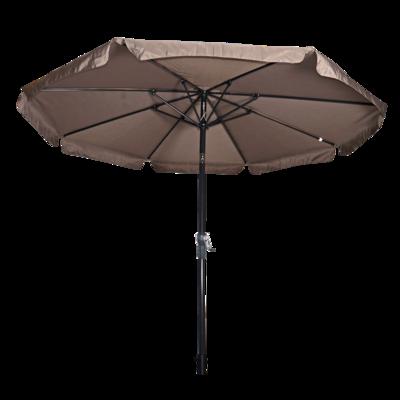 Ronde parasol Libra, met antraciet frame en knik. Taupe doek met volan, doorsnede van 3m. en 8 metalen baleinen. Met handige molen en veersysteem.