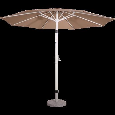 Ronde parasol Libra Sand.Mat-wit aluminium  frame met knik. Zandkleur doek zonder volan, doorsnede van 3m. met 8 metalen baleinen, handige molen en veersysteem.