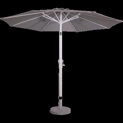 Ronde parasol Libra Sand.Mat-wit aluminium  knikframe. Steenkleur doek zonder volan, doorsnede van 3m. met 8 metalen baleinen, handige molen en veersysteem.