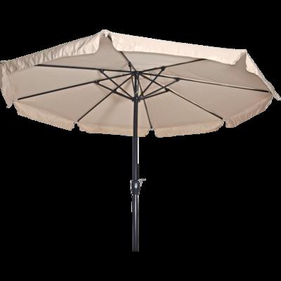 Ronde parasol Libra, met antraciet frame en knik. Ecru doek met volan, doorsnede van 3,5m. en 8 metalen baleinen. Met handige molen en veersysteem.