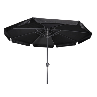 Ronde parasol Libra, met antraciet frame en knik. Zwart doek met volan, doorsnede van 3,5m. en 8 metalen baleinen. Met handige molen en veersysteem.