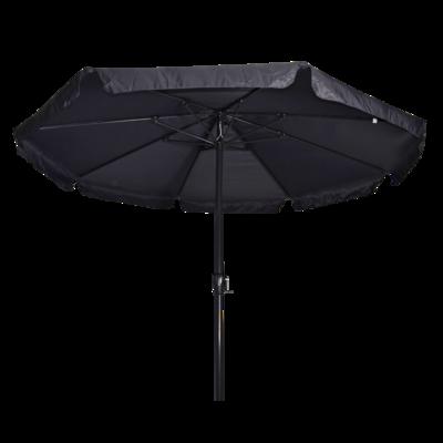 Ronde parasol Libra, met antraciet frame en knik. Grijs doek met volan, doorsnede van 3,5m. en 8 metalen baleinen. Met handige molen en veersysteem.