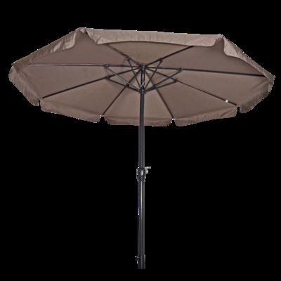 Ronde parasol Libra, met antraciet frame en knik. Taupe doek met volan, doorsnede van 3,5m. en 8 metalen baleinen. Met handige molen en veersysteem.