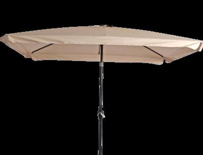 Rechthoekige parasol Libra, met antraciet frame en knik. Ecru doek met volan, 3 x 2m. en 6 metalen baleinen. Met handige molen en veersysteem.