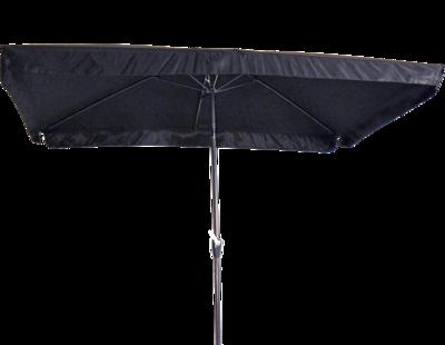 Rechthoekige parasol Libra, met antraciet frame en knik. Zwart doek met volan, 3 x 2m. en 6 metalen baleinen. Met handige molen en veersysteem.