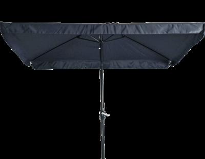 Rechthoekige parasol Libra, met antraciet frame en knik. Grijs doek met volan, 3 x 2m. en 6 metalen baleinen. Met handige molen en veersysteem.