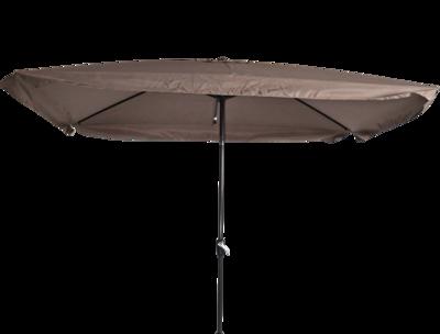 Rechthoekige parasol Libra, met antraciet frame en knik. Taupe doek met volan, 3 x 2m. en 6 metalen baleinen. Met handige molen en veersysteem.